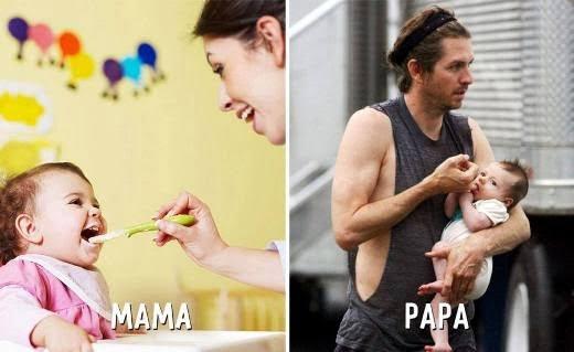 """Sự khác biệt khi được mẹ và bố cho ăn. Các bé sẽ được ngậm tay của bố thay vì """"ti"""" giả."""
