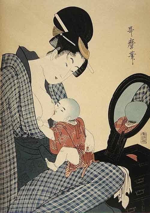 Tranh nghệ thuật Nhật Bản về người mẹ cho con bú những năm 1700