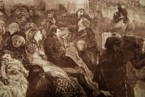 Mẹ cho con bú trong nhà thờ. Ảnh được vẽ năm 1871